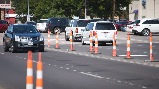 Traffic flows up and down Louise Avenue between 41st and 49th street after a major road project wrapped up Friday, Sept. 8, in Sioux Falls. Traffic flows evenly now that the road is widened.