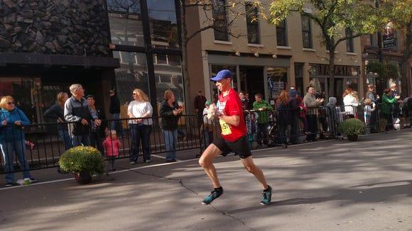 I'm pushing hard to get to the finish line of the Wineglass Half Marathon.
