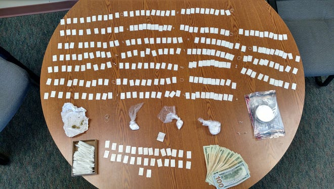 Heroin and cocaine, along with other items seized during a Chenango County drug raid Wednesday.