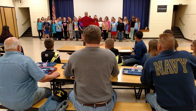 The Student Council at Caroline L. Reutter School in Franklinville sponsored a breakfast and recognition assembly for local veterans this spring. During the assembly, Student Council members recited patriotic poems and the chorus performed patriotic songs.