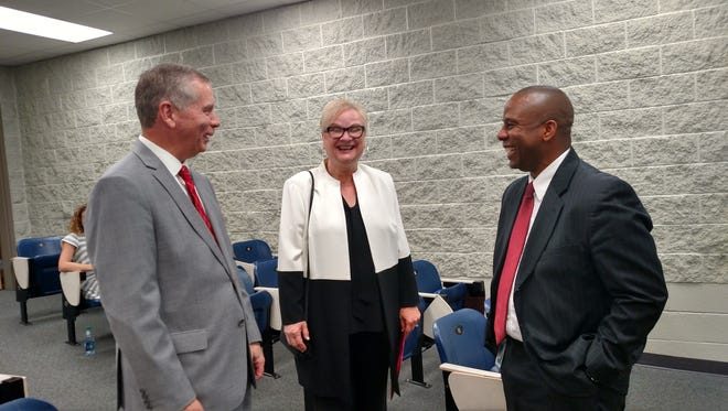State Rep. Joe Pitts, APSU President Alisa White and CMCSS Director Millard House and Thursday's announcement of a partnership on Japanese and Korean language classes.
