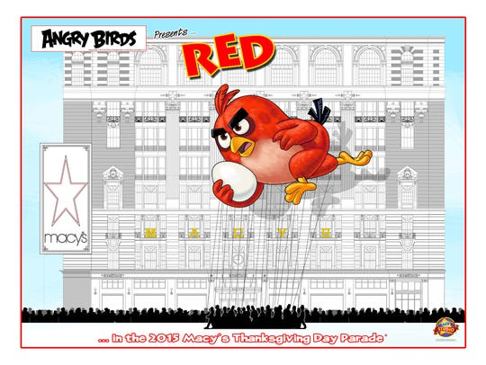 A drawing of the planned Angry Birds balloon for this