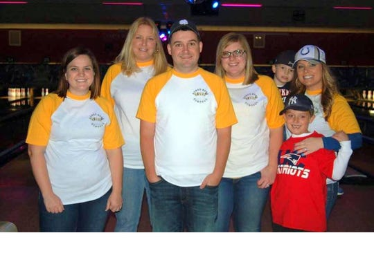 First Bank bowlers in the Junior Achievement fundraiser