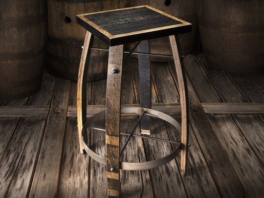 Heritage Handcrafted Whiskey Wood Bar Stools, made from reclaimed Jack Daniel's whiskey barrel wood.