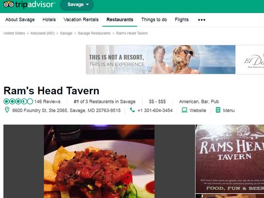 A screenshot of Rams Head Tavern's profile on TripAdvisor taken Nov. 20, 2017.