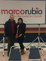 Indianapolis residents Garry and Louise Fredericksen attend a campaign event for Marco Rubio in Marshalltown, Iowa.