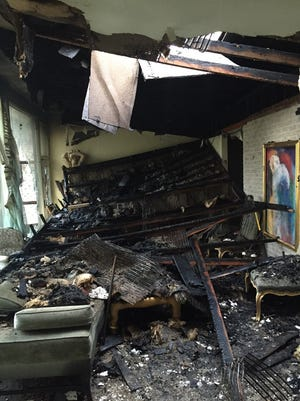 The ceiling at a 40 Crosshill Road house collapsed shortly after firefighters left the residence.