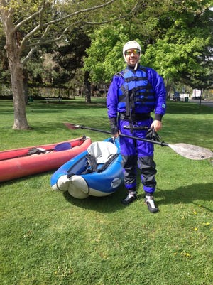 Outdoors writer Benjamin Spillman before a recent practice session at the Reno whitewater park.