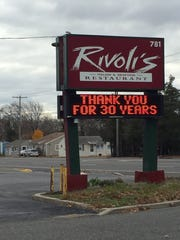 After nearly 30 years in business, Rivoli's Italian & Seafood Restaurant in Toms River has closed.