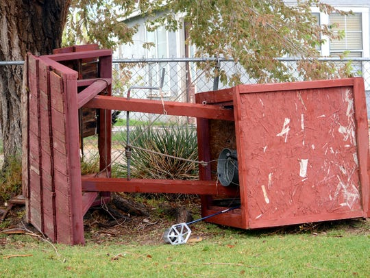 A trampoline knocked over the Cernas' water well before