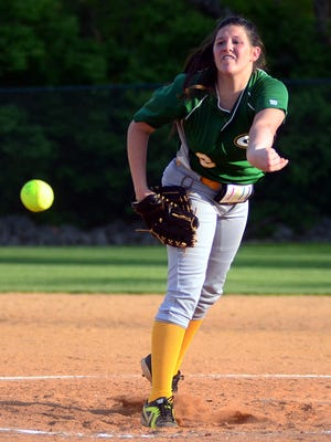 Gallatin High freshman pitcher Sidney Link delivers a third-inning pitch against Westmoreland. Link collected nine strikeouts in Friday's 11-1 victory.
