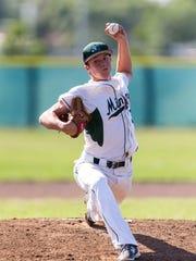 El Diamante starter Mason Garispe fires a pitch against Golden West on Thursday in a WYL baseball game.