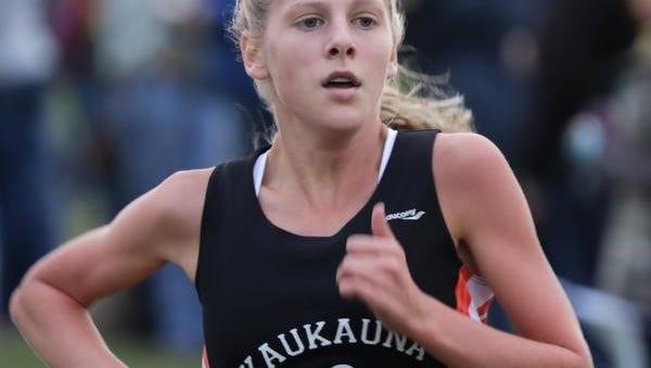 Kaukauna's Anna Fauske competes in the Seymour Invitational cross country meet Thursday.