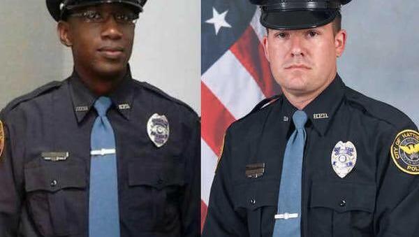 Fallen Hattiesburg officers Liquori Tate (left) and Benjamin Deen
