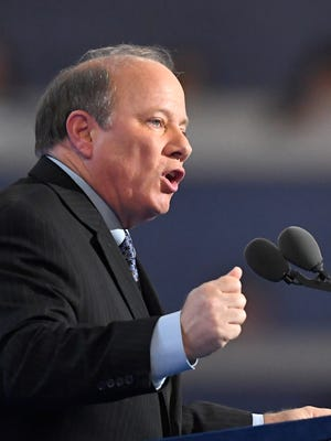 Detroit Mayor Mike Duggan speaks during the third day of the Democratic National Convention in Philadelphia, Wednesday, July 27, 2016.