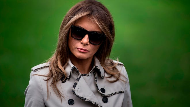 First lady Melania Trump on South Lawn of the White House on Oct. 13, 2017.