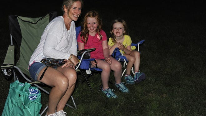 Erin, Lily and Brigid enjoy the Movies Under the Stars in Glen Rock.