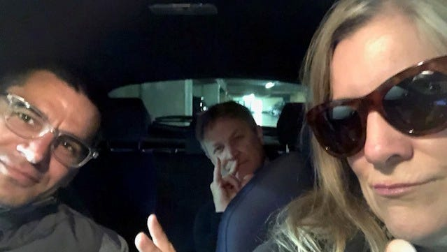 From left, Kyle Rowland, Chris Balas and Angelique S. Chengelis tool around Paris in their rented car.