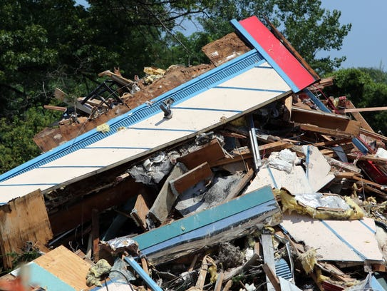 Debris at the site of the demolished El Dorado West