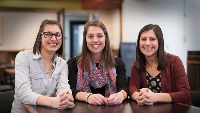(From left) Jackie, Rachel and Fran Weiss, triplets who are pursuing careers in education at the University of Wisconsin-Stevens Point.