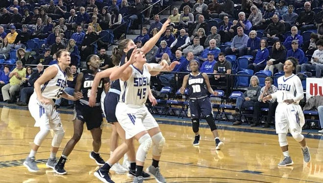 Ellie Thompson goes for a rebound Saturday during SDSU's win over Oral Roberts.