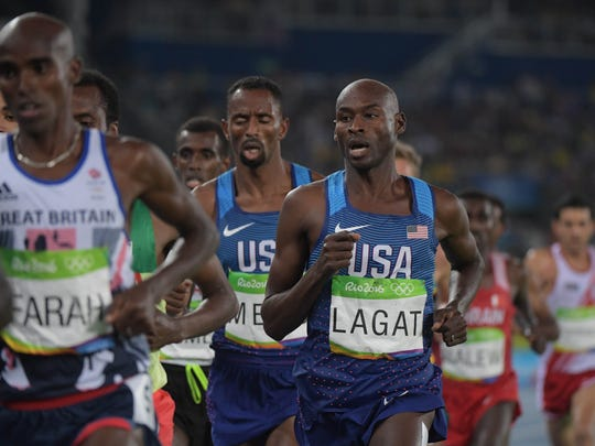 Bernard Lagat competes in the 5,000-meter final at the 2016 Olympic Games in Rio de Janeiro.