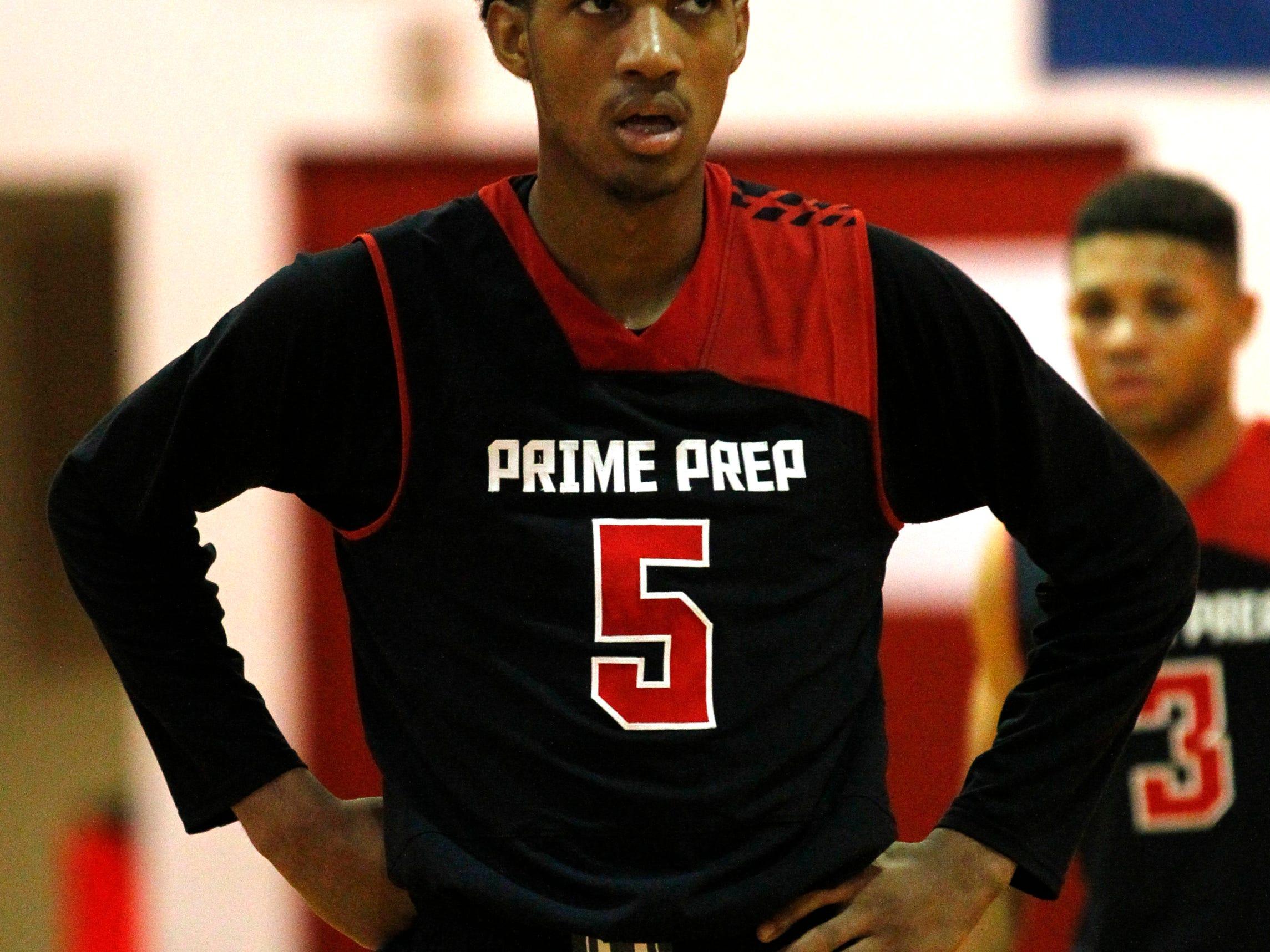 Prime Prep of Dallas' Terrance Ferguson (5) on the basketball court at Seneca High School in Louisville, Kentucky. December 1, 2014