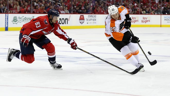 Ryan White, right, hit a career high in goals this season and is a pending unrestricted free agent.