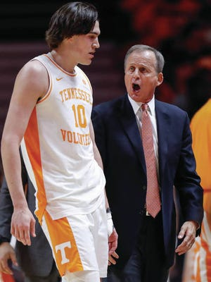John Fulkerson (10) finished with a double-double and drew a charge to clinch Tennessee's 56-55 win Saturday over visiting South Carolina.