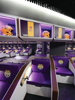 """LSU football turns its locker room into """"first class"""" pods with sleep space."""