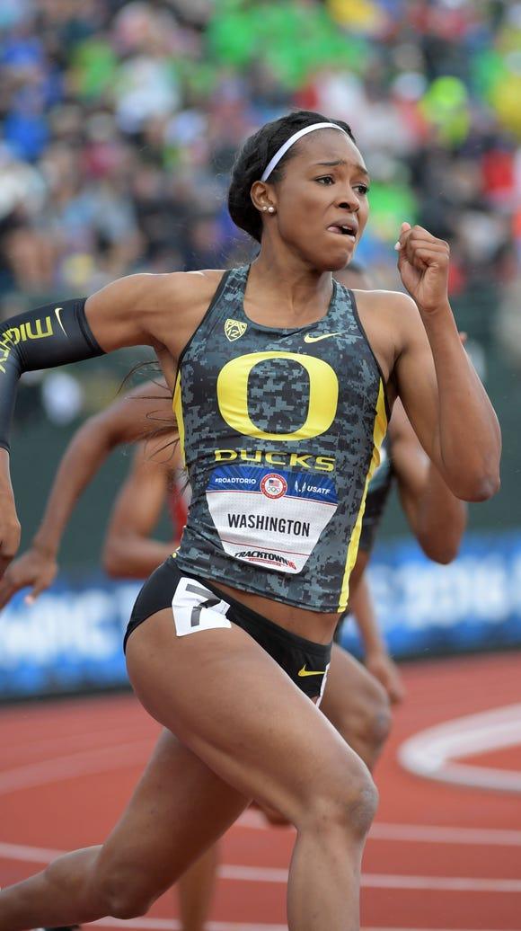 Jul 8, 2016; Eugene, OR, USA; Ariana Washington competes