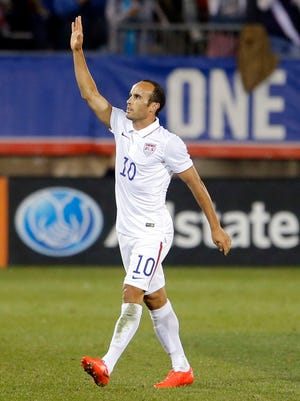 Landon Donovan departs late in the first half of his final game with the U.S. national team.
