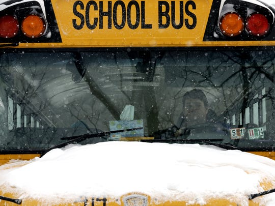 Snow on a bus, file photo