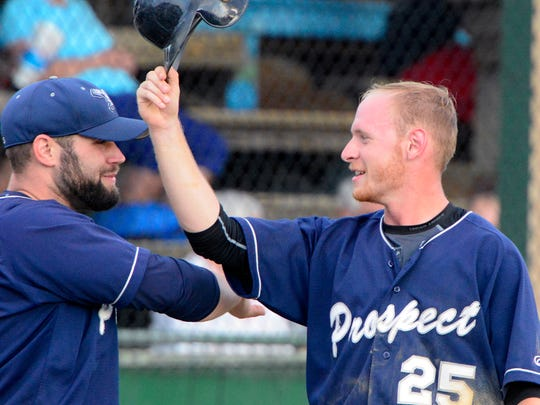 East Prospect's Devin Strickler, right, seen here in a file photo, had seven hits in the Pistons' sweep of Felton over the weekend.
