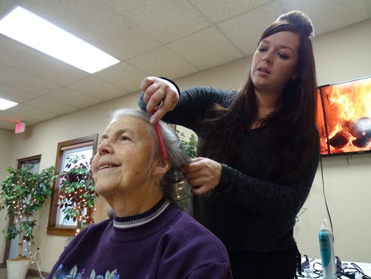 1- Getting her hair done