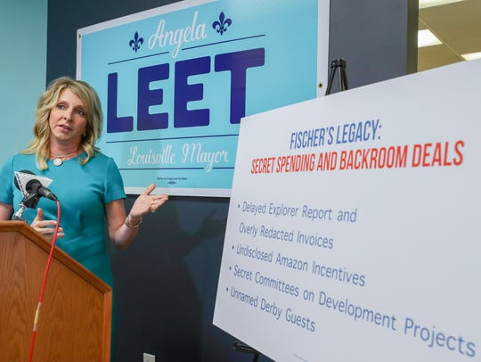Republican mayoral candidate Angela Leet held a press