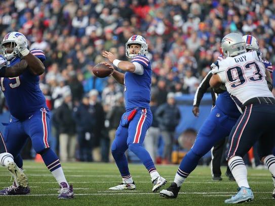 Bills rookie quarterback Nathan Peterman looks downfield.