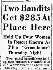 A Sheboygan Press article from Oct. 27, 1939, documenting one of the frequent robberies at the Green House in Sheboygan.