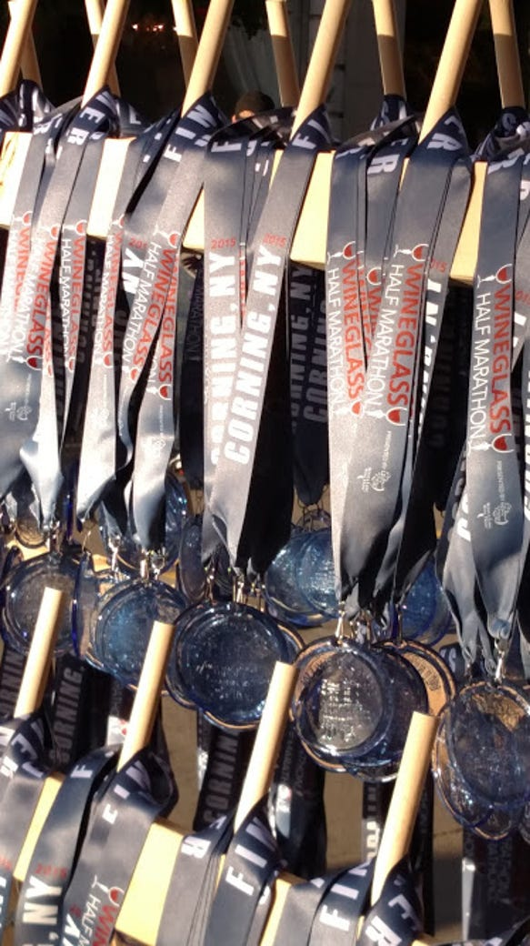 The famous glass medals for the Wineglass races.