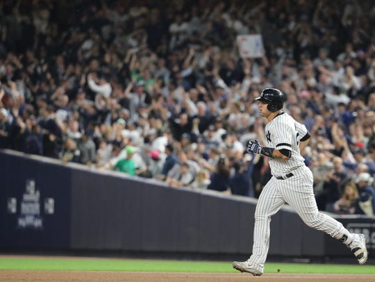 Gary Sanchez rounds the bases for his seventh inning