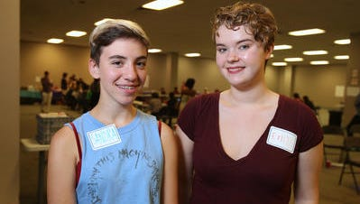 Students of the Week Sandra Goldstein Lehnert, 16, left, and Erin Scott, 17, both of Tappan Zee High School. They are student facilitators participating in a meeting of the Student Activists Ending Dating Abuse program run by the Rockland Center for Safety and Change at the Palisades Center community room in West Nyack Aug. 21, 2014.
