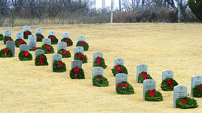 Due to COVID-19, the 2020 Wreaths Across America laying of the wreaths ceremony will not be held. However, families will still be able to lay wreaths for their loved ones on Saturday, Dec. 19 from 9 and 11 a.m. SUBMITTED PHOTO