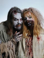 Two zombies are decked out at a past Psychedelic Zombie BBQ in Newburgh.