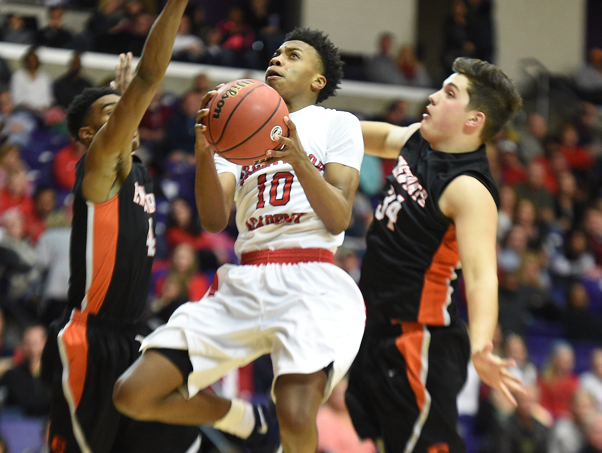 Sophomore Mr. Basketball finalist Darius Garland (10) helped lead Brentwood Academy to a second straight Division II-AA champion on Saturday.