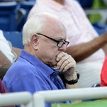 Walt Jocketty, general manager and president of the Cincinnati Reds, takes in a game between the Pensacola Blue Wahoos and the Mississippi Braves on Tuesday evening at the bayfront stadium.