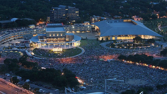 Crowds of more than 100,000 typically gather in front of the Long Center for the Performing Arts for the Fourth of July concert and fireworks. The holiday concert will be canceled this year because of coronavirus concerns.