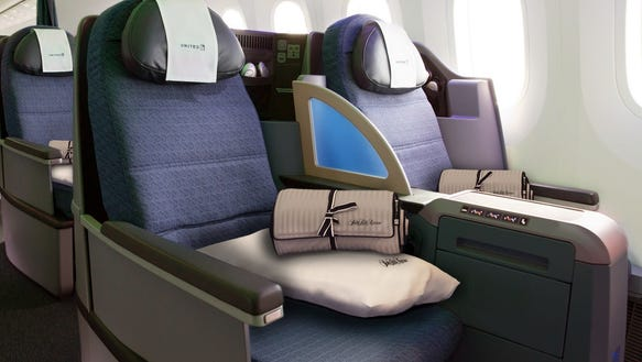 This photo provided by United shows the lie-flat seats