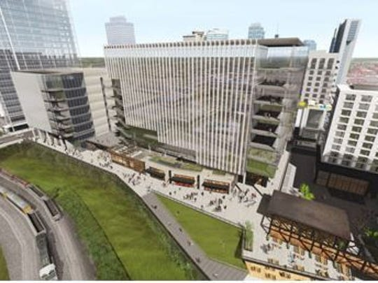 A rendering shows the Nashville Yards project planned for downtown. Gresham Smith and Partners A rendering shows the Nashville Yards project planned for downtown.