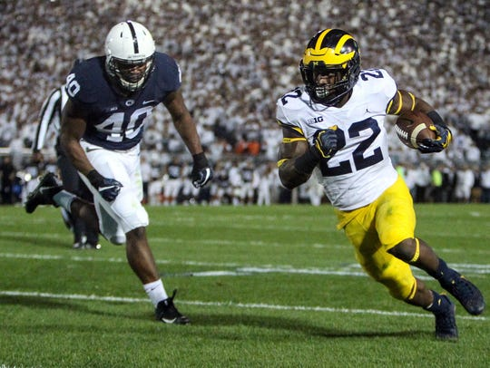 Michigan running back Karan Higdon scored one of the Wolverines' two touchdowns on Saturday against Penn State.
