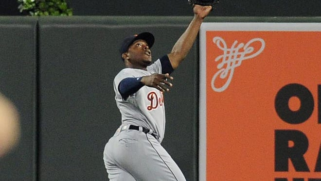 Tigers centerfielder Justin Upton (8) catches a fly ball in the sixth inning Thursday in Baltimore.
